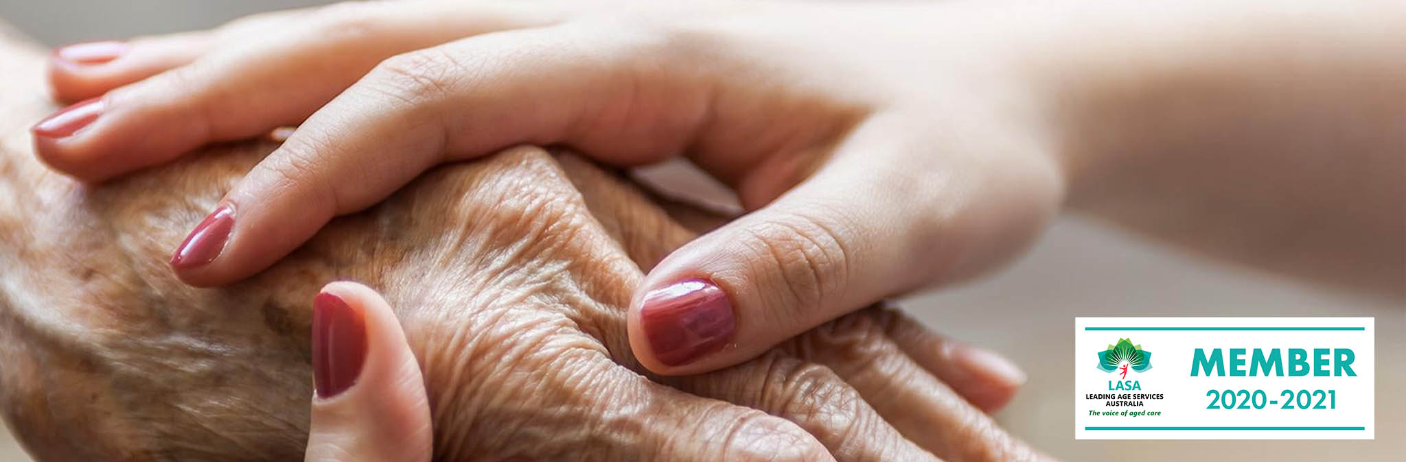 elderly hands being held by a caring hand